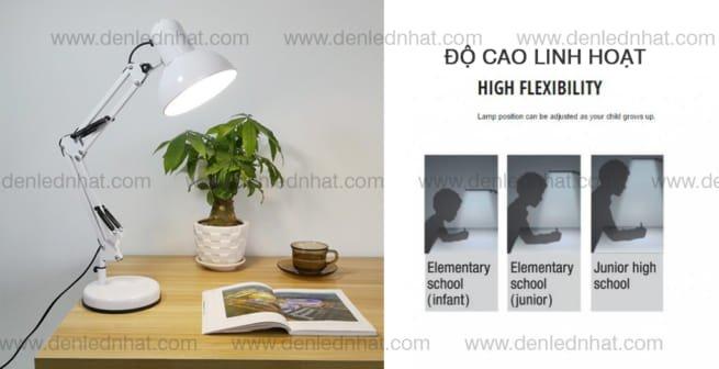 Đèn bàn chống cận thị Humitsu cho độ cao linh hoạt khi sử dụng