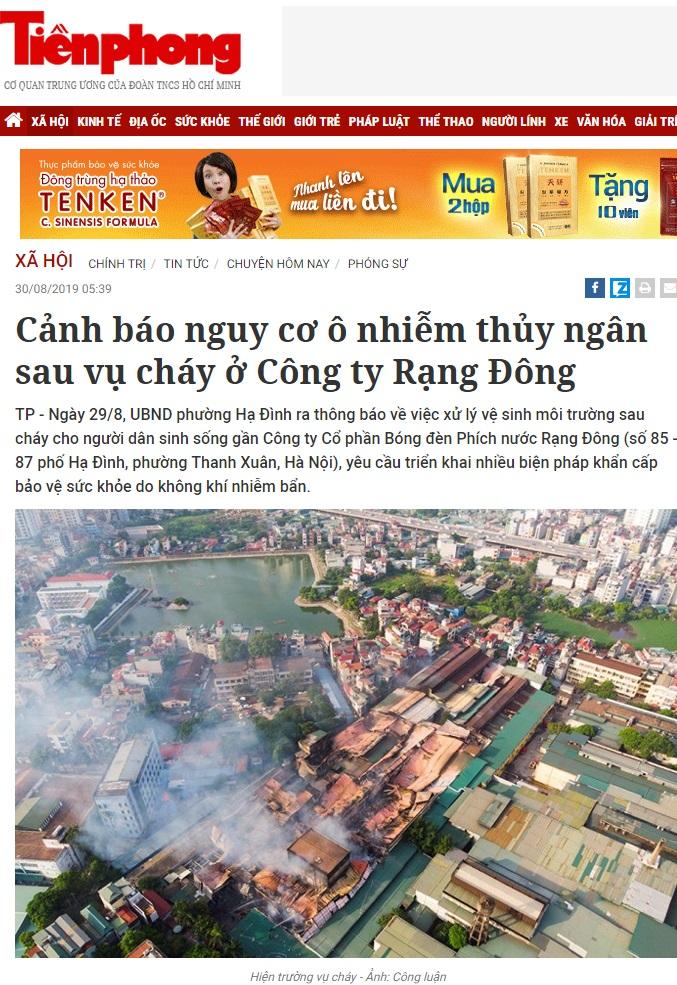 Cảnh báo nguy cơ ô nhiễm thủy ngân sau vụ cháy ở Công ty Rạng Đông