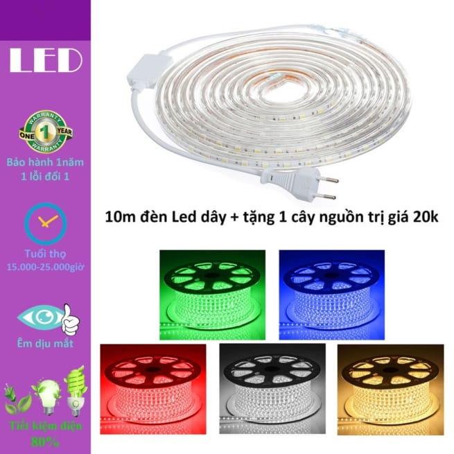 10m đèn Led dây strip chống chịu nước chip 5050 các màu