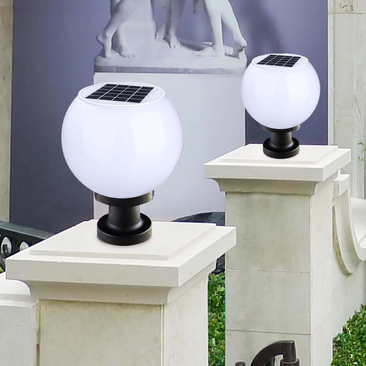 đèn trụ cổng tròn năng lượng mặt trời