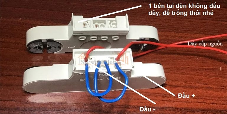 Cách đấu máng tuýp đôi với nguồn điện 1 bên