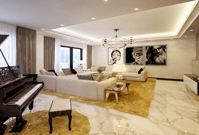 Lắp đèn led âm trần 3 màu cho phòng khách hiện đại