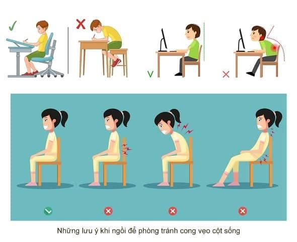 Cách ngồi đúng tư thế không bị cong vẹo cột sống cho trẻ